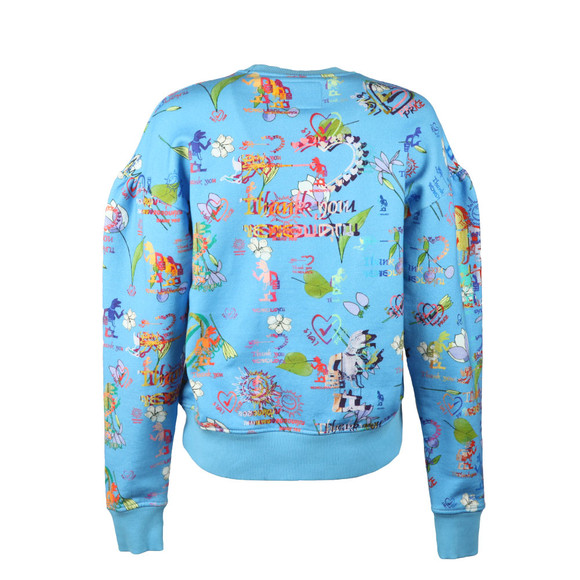 Vivienne Westwood Anglomania Womens Blue Thank You Print Puffy Shoulder Sweatshirt main image