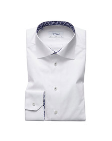 Eton Mens White Shirt With Palm Print Details