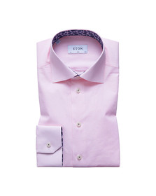 Eton Mens Pink Shirt With Palm Print Details