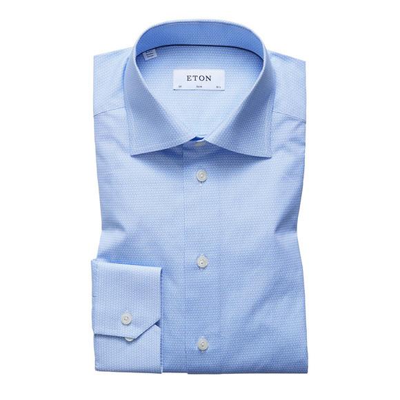 Eton Mens Blue Heart Print Shirt main image