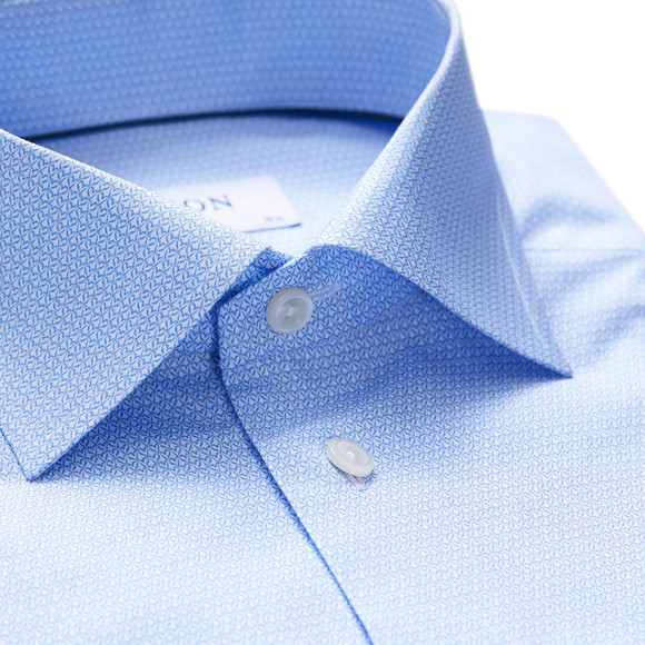 Eton Mens Blue Heart Print Shirt