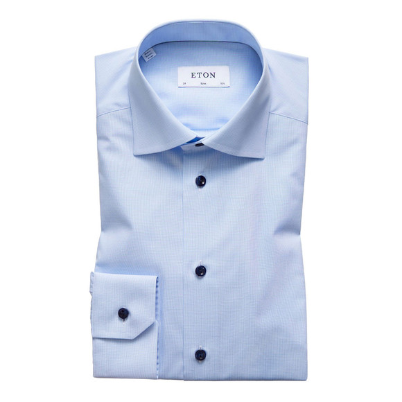 Eton Mens Blue Twill Shirt With Navy Details