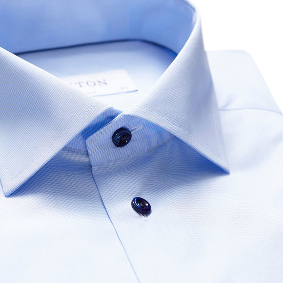 Eton Mens Blue Twill Shirt With Navy Details main image