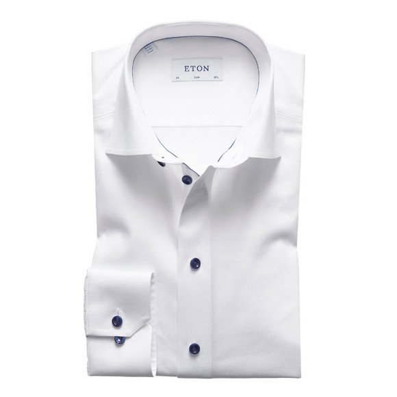 Eton Mens White Twill Shirt With Navy Details
