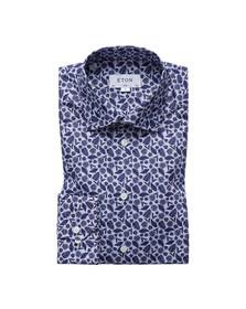 Eton Mens Blue Palm Print Poplin Shirt