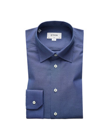 Eton Mens Blue Pinpoint Button Under Shirt