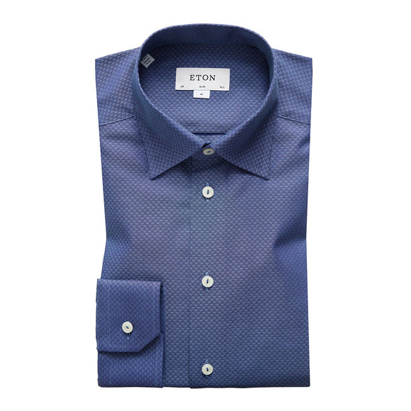 Eton Mens Blue Pinpoint Button Under Shirt main image