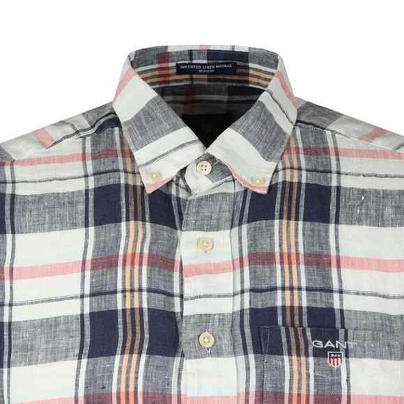 Gant Mens Blue S/S Linen Madras Shirt main image