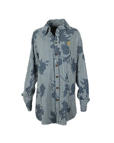Vivienne Westwood Anglomania Womens Blue Rose Stripe Print Chaos Shirt