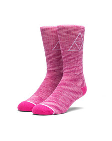 HUF Mens Pink Melange Triple Triangle Socks