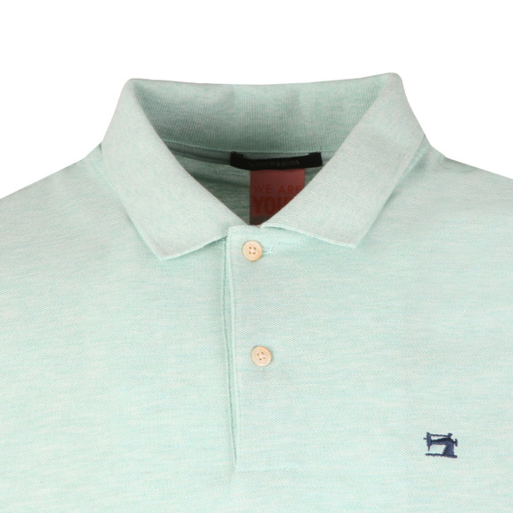Scotch & Soda Mens Green Classic Clean Pique Polo Shirt main image
