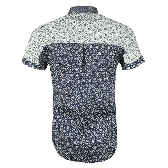 Scotch & Soda Mens Blue Short  Sleeve Patterned Shirt main image