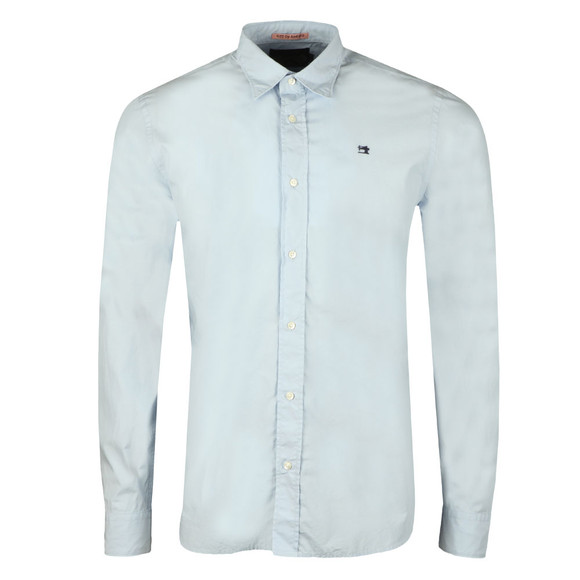 Scotch & Soda Mens Blue Relaxed Fit Poplin Shirt main image