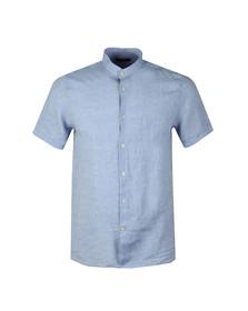 J.Lindeberg Mens Blue Daniel Linen Melange Short Sleeve Shirt