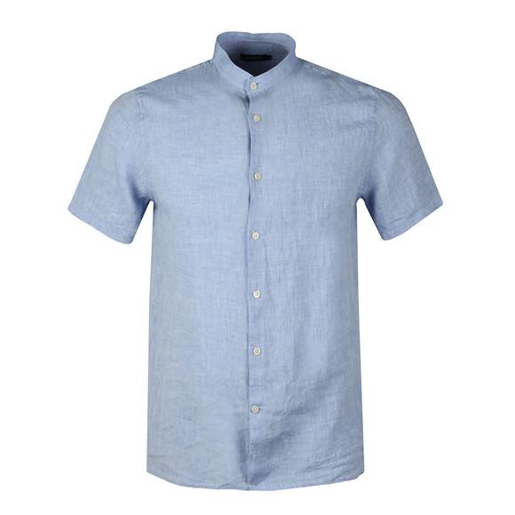 J.Lindeberg Mens Blue Daniel Linen Melange Short Sleeve Shirt main image