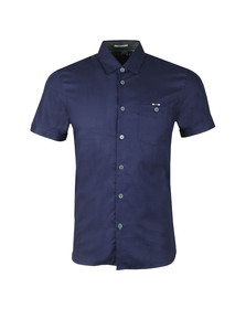 Ted Baker Mens Blue SS Waffle Weave Bowling Shirt
