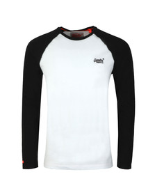 Superdry Mens Black Orange Label LS Baseball Tee
