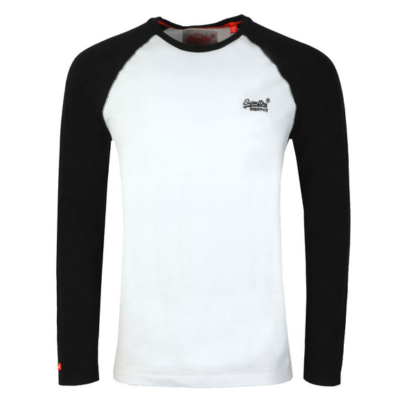 Superdry Mens Black Orange Label LS Baseball Tee main image