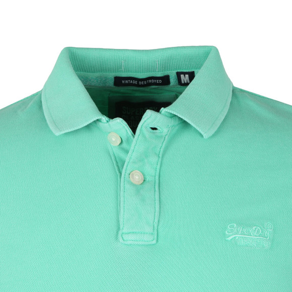 Superdry Mens Green S/S Vintage Destroy Pique Polo main image