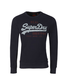 Superdry Mens Blue Vintage Logo Duo Liteweight Sweat