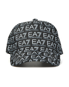 EA7 Emporio Armani Mens Black Train Monogram Cap