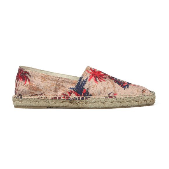 H By Hudson Mens Beige Blake Palm Print Canvas