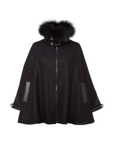 Holland Cooper Womens Black Zip Collar Tweed & Fur Cape