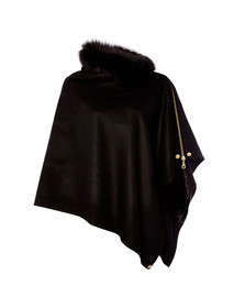 Holland Cooper Womens Black Tweed & Fur Wrap