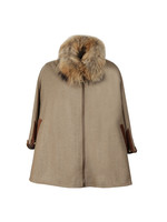 Zip Collar Tweed & Fur Cape