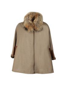 Holland Cooper Womens Brown Zip Collar Tweed & Fur Cape