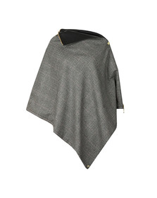 Holland Cooper Womens Grey Tweed & Leather Collar Wrap