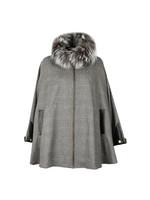 Zip Collar Tweed & Fur Cape