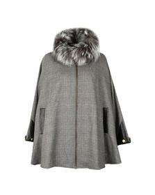 Holland Cooper Womens Grey Zip Collar Tweed & Fur Cape
