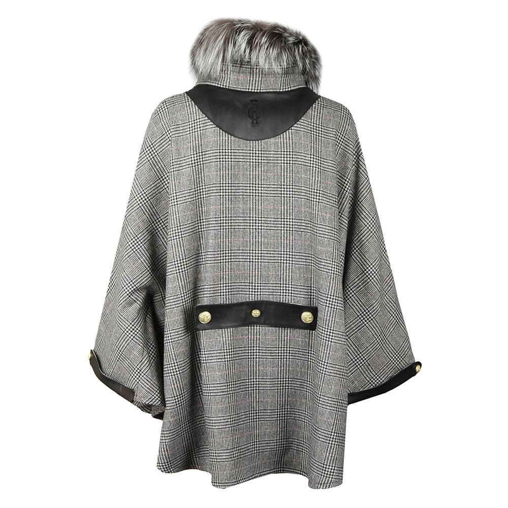 Zip Collar Tweed & Fur Cape main image