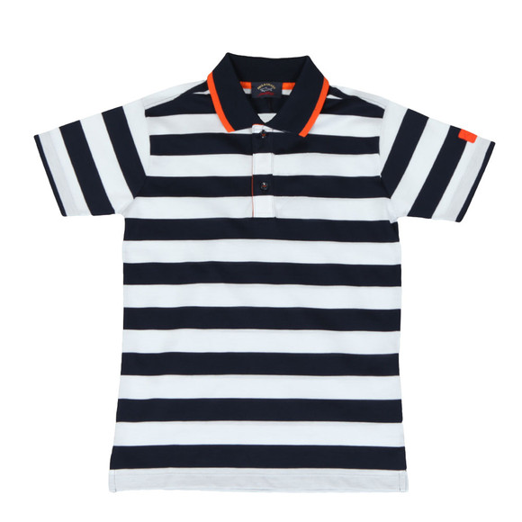 Paul & Shark Cadets Boys Blue Tipped Stripe Polo Shirt main image
