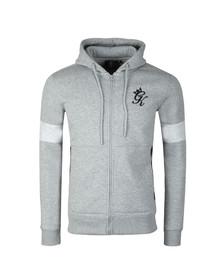 Gym King Mens Grey Full Zip Asymetric Panel Hoodie