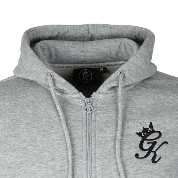 Gym King Mens Grey Full Zip Asymetric Panel Hoodie main image