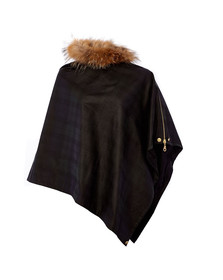 Holland Cooper Womens Black Wax & Fur Wrap