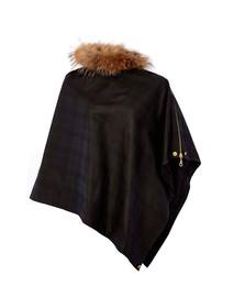 Holland Cooper Womens Black Wax & Fur Wrap