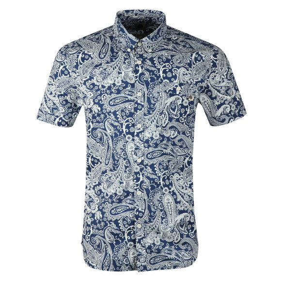 Pretty Green Mens Blue S/S Slim Fit Paisley Shirt main image