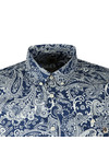 Pretty Green Mens Blue S/S Slim Fit Paisley Shirt