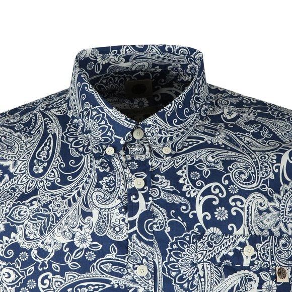 Pretty Green Mens Blue S/S Slim Fit Paisley Shirt main image