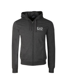 EA7 Emporio Armani Mens Grey Metallic Small Logo Full Zip Hoody