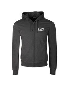 EA7 Emporio Armani Mens Grey Metallic Small Logo Full Zip Hoody