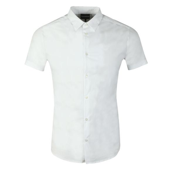 Emporio Armani Mens White Stretch Short Sleeve Shirt main image