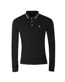 Emporio Armani Mens Black 8N1F36 Tipped Long Sleeve Polo