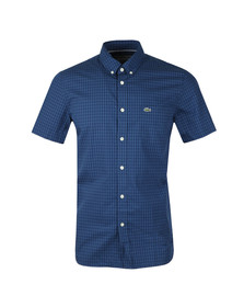 Lacoste Mens Blue S/S CH9608 Check Shirt