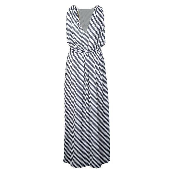 Michael Kors Womens Blue Chain Neck Maxi Dress main image