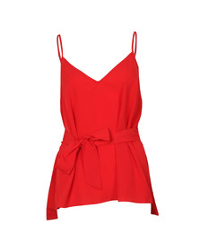French Connection Womens Red Dalma Crepe Strappy V Neck Top