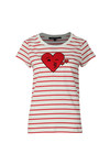 French Connection Womens White Heart Crew Neck Tee